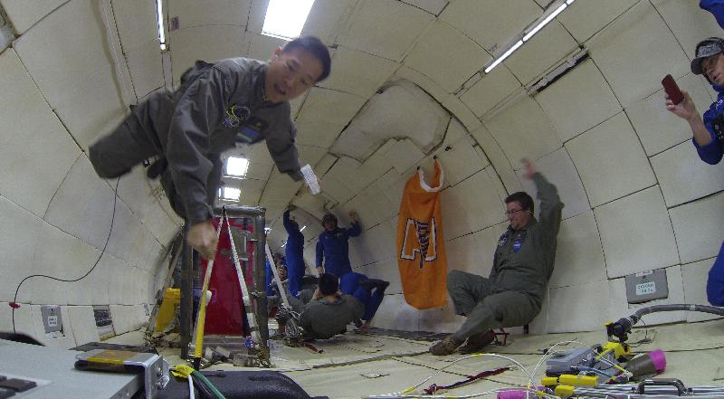 floating in zero g